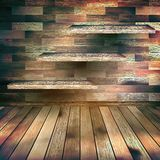 Room with the shelfs and wooden floor. EPS 10 Royalty Free Stock Photo