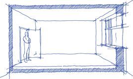 Room sketch diagram. Hand drawn sketch of a single empty room with window and door and man standing at the door Royalty Free Stock Photography
