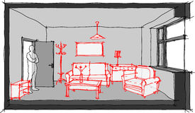 Room sketch diagram with sketches of furniture. Hand drawn sketch of a single empty room with door and window furnished with hand drawn sketches of sofa, chair Stock Photos