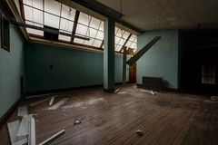 Room with Skylight - Abandoned Courthouse Royalty Free Stock Photography