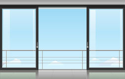Room with a sliding door Stock Images