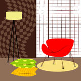 Room with small red chair. Modern and simple interior Royalty Free Stock Photo