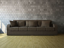 Room with sofa. Room with brown sofa near the wall Stock Photo