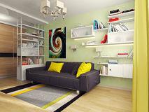 Room with sofa. At the center of the room is a sofa. On the left is a rack with shelves. On the shelves are books. On the floor lay carpet. On the right shelf Stock Photo