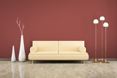 Room and sofa. 3D rendering of a red room with a sofa Stock Photography