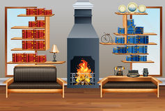 Room with sofa and fireplace. Illustration Royalty Free Stock Image