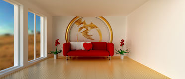 Room with sofa and golden dragon decoration Royalty Free Stock Image