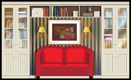 Room with a sofa. Illustration on the theme of housing, libraries, places for reading with sofa, sconce and bookcases. can be used in your design, advertising Stock Photo