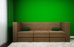 The room with a sofa, and the picture has curtains, carpet and window. Stock Image