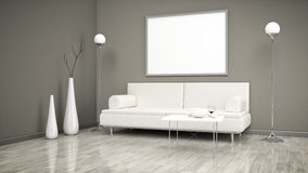 Room with a sofa and a white picture Royalty Free Stock Photo