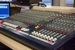 Room of sound producer at the sports arena. Room of sound producer at the big sports arena Royalty Free Stock Image