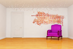 Room with splash hole, door and purple armchair Royalty Free Stock Photo