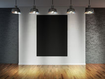 Room with  spotlight lamps, empty  space with wooden flooring and brick wall as background or backdrop for product placement. 3d r Royalty Free Stock Image