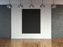 Room with  spotlight lamps, empty  space with wooden flooring and brick wall as background or backdrop for product placement. 3d r Royalty Free Stock Photography