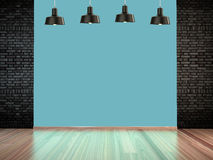 Room with spotlight lamps, empty space with wooden flooring and brick wall as background. 3d rendering interior. Room with spotlight lamps, empty space with Royalty Free Stock Photo