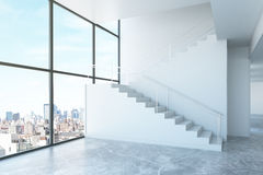Room with stairs and city view Stock Image