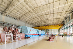 Room for the steam turbines of nuclear power. The energy industry. The room for the steam turbines of nuclear power station Royalty Free Stock Image
