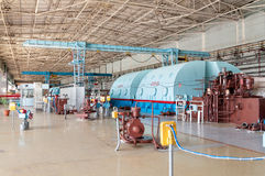 Room for the steam turbines of nuclear power. The energy industry. The room for the steam turbines of nuclear power station Stock Photo