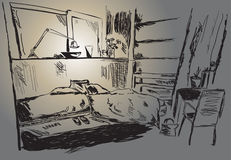 Room. In a student dormitory with two beds stock illustration