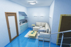 Room for swimming and weakness. 3d image of blue room for swimming and weakness Stock Image
