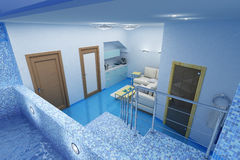 Room for swimming and weakness. 3d image of blue room for swimming and weakness Stock Photos