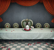 Room with table. Fairy tale illustration with  table and  dish with  rabbit, wonderland. Computer graphics Stock Photo