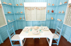 Room and Table setting in maritime style Stock Photography