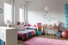 Room for teenage girl. Modern and homely room for teenage girl Royalty Free Stock Image