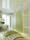 Room for teenager in modern with a large sliding closet. Royalty Free Stock Photo