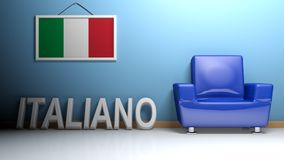 Room of italian language - 3D rendering. In a room there is a blue armchair and a picture of the italian flag is hanging on the blue wall. On the pavement Royalty Free Stock Photo