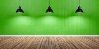 Room with three lamps, concrete green wall and wooden floor 3D Illustration.  stock illustration