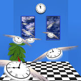 Room of time. Winged clocks fly out of room Royalty Free Stock Photos