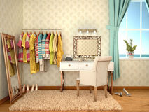 Room to bring myself up from dressing table. 3d illustration Stock Image