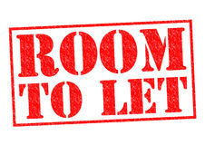 ROOM TO LET. Red Rubber Stamp over a white background Stock Photos