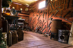 Room with tools. Room with railroad tools in Stare Selo museum. Kolochava Ukraine Stock Photography