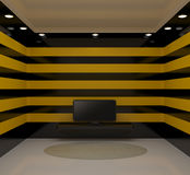 Room with tv and black and yellow walls Stock Photography
