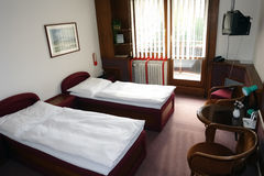 Room with two beds in building. royalty free stock photo
