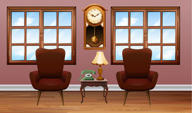 Room with two brown armchairs Stock Photos