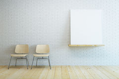 Room with two chair and blank picture Stock Images
