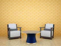 Room with two chairs and a table. Room with cloth-skinned chairs and table with glass tabletop Stock Image