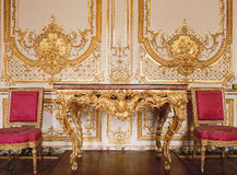 Versailles, France - 10 August 2014 : Wood wall with gold ornaments at Versailles Palace ( Chateau de Versailles ). It was added to the UNESCO list of World Stock Images