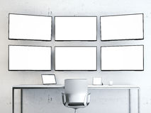 Room with video wall. Royalty Free Stock Image