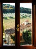 Room with a view. A room with a view to Italian wine fields in Tuscany Stock Images