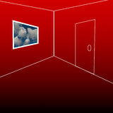 Room with a view. Red room with a window, a view that shows a beautiful sky outside with some room on the bottom for text Stock Image
