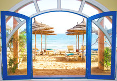 Room with a view on a beach Stock Image