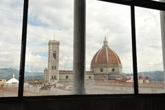 Room with a view in Florence , the Dome seen from a hotel Royalty Free Stock Images