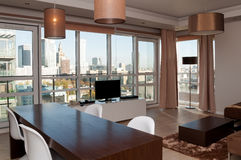 Room view in skyscraper apartment royalty free stock photos