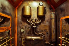 The room in vintage steampunk style. With steam pipes and pressure gauge Stock Photo
