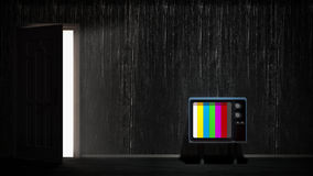 Room with vintage TV. Depending on the TV Stock Photo