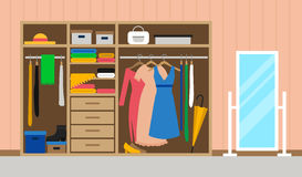room with wardrobe and mirror Stock Image